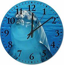 ian huan88 12 Inch Wooden Wall Clock, Dolphin Non