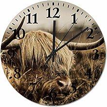 ian huan88 12 Inch Wooden Wall Clock, Highland cow