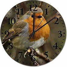ian huan88 12 Inch Wooden Wall Clock, Robin Non