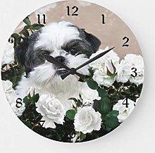 ian huan88 12 Inch Wooden Wall Clock Shih Tzu and