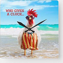 ian huan88 15 by 15-inch Wall Clock, Rooster Dude