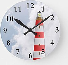ian huan88 15 Inch Wooden Round Wall Clock, Red