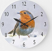 ian huan88 15 Inch Wooden Round Wall Clock, Robin