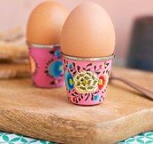 Ian Snow Handpainted Kashmiri Egg Cup - Pink