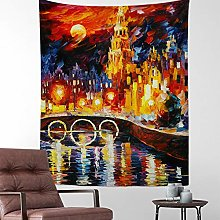 ianlongVIP Oil painting starry night tapestry Van