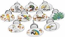 IBA Indianbeautifulart Multicolor Mix Bird Oval