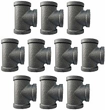 IBEUTES 10-Pack Tee Black 1/2-Inch Malleable Iron