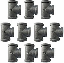 IBEUTES 10-Pack Tee Black 3/4-Inch Malleable Iron