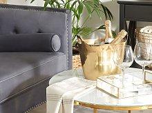 Ice Bucket Gold Metal with Handles Modern