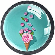 Ice Cream Flower Crystal Drawer Handles Furniture