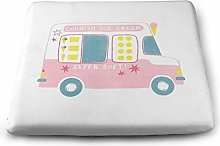 Ice Cream Van Solid Square Cushion, Pillow Seat