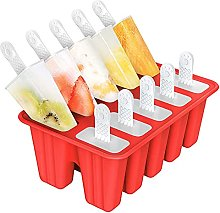 Ice Lolly Moulds, 10 Cavities Silicone Ice Pop