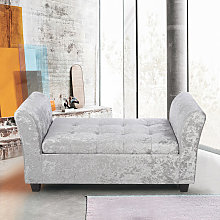 Ice Velvet Storage Footstool Window Seat Bench