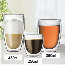 Iced Coffee Cup Double Wall Glass Egg Shape