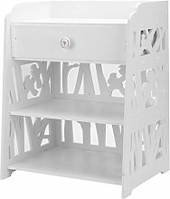 ICOCO White Bedside Table Wooden Storage Cabinet