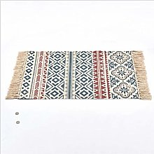 Icole Cotton Area Rug with Tassels Hand Woven