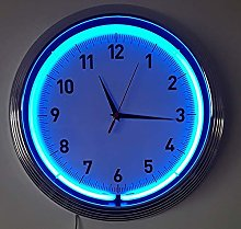 Icon Neon Chrome Orange Wall Clock-Real Neon (not