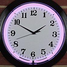 Icon Neon Purple Black Rim Wall Clock, real Neon