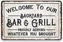 ICRAEZY Backyard Bar & Grill Signs Welcome to Our