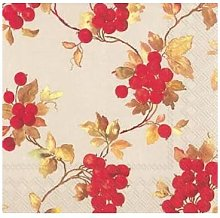 ideal home range - 40 x 3 Ply Red Berries on Linen