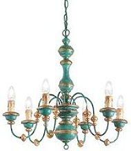 Ideal Lux Pisa - 6 Light Chandelier Blue, Gold