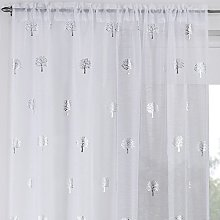 Ideal Textiles Birch Slot Top Voile Curtain Panel,