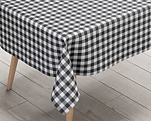 Ideal Textiles Gingham Black PVC Tablecloth, Easy