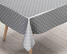 Ideal Textiles Polka Dot Silver PVC Tablecloth,