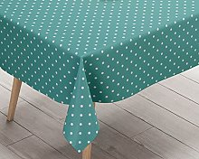 Ideal Textiles Polka Dot Teal PVC Tablecloth, Easy