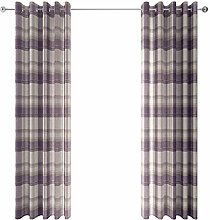 Ideal Textiles Purple Cream Lined Eyelet Curtains,