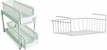 Ideaworks Portable 2 Tier Basket Drawers, White,