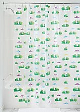 iDesign 180 x 200 cm Frogs Shower Curtain, Green