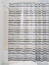iDesign 180 x 200 cm Stripz Shower Curtain, Black/