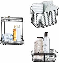 iDesign Matte Black Wire Bath/Vanity Storage