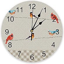 Idyllic Animal Watercolor Bird Wall Clock Bedroom