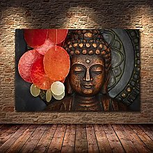 IFUNEW Canvas pictures Buddha Statue Wall Art