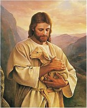 IFUNEW Canvas pictures Jesus Embraced the Lamb