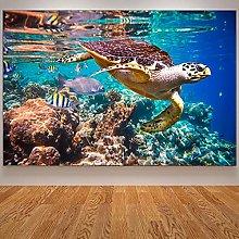 IFUNEW Wall art prints Sea Turtle Painting Art