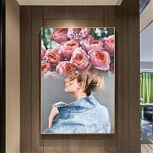 IGNIUBI Rose Girl Flowers Abstract Wall Art Poster