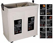 IHOMAGIC Large 2 Sections Foldable Laundry Basket
