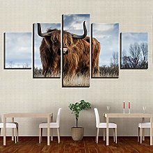 IIIUHU Canvas Picture -5 Piece Abstract Animal Cow