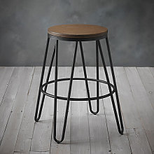 Ikon Black Metal Hairpin Leg Bar Stool With Wooden