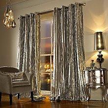 Iliana Eyelet Velvet Fully Lined Praline Curtains