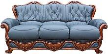 Illinois 3 Seater Italian Leather Sofa Settee