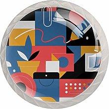 Illustration 4 Pack Glass Drawer Knobs- Round