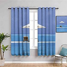 ILMF Blackout Curtain Set With Eyelet, Blue