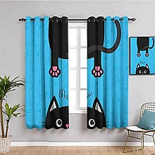 ILMF Blackout Curtain Set With Eyelet, Cat Cartoon