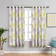 ILMF Blackout Curtain Set With Eyelet, Flowers