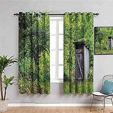 ILMF Blackout Curtain Set With Eyelet, Forest