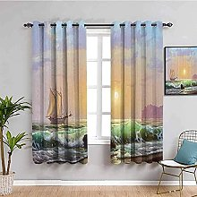 ILMF Blackout Curtain Set With Eyelet, Oil